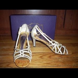 Ivory Leather Open Toe Strappy Heels, Size 8.5M